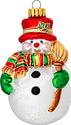 Snowman with Broom Glass Ornament - 1141324 - $6.99