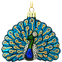 Peacock Glass Ornament - 1140383 - $5.99
